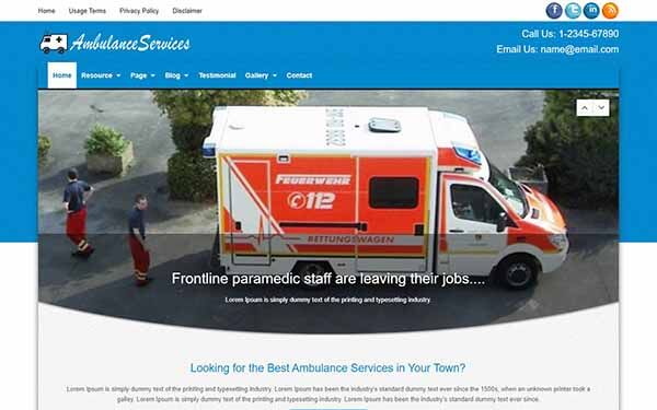 Ambulance Services WordPress Theme