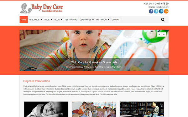 Baby Day Care WordPress Theme