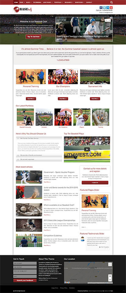 Baseball WORDPRESS THEME Full Demo
