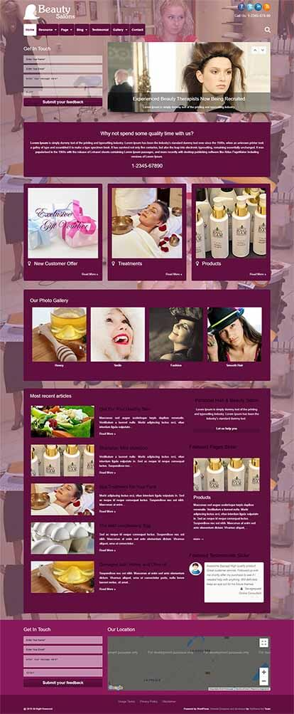 Beauty Salons WORDPRESS THEME Full Demo