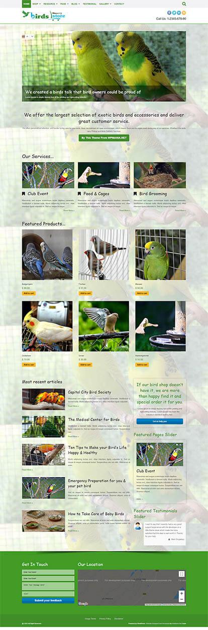 Birds WORDPRESS THEME Full Demo
