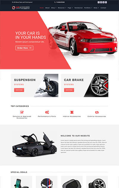 Car Accessories WooCommerce WordPress Theme – Vehicles Parts Equipments Template