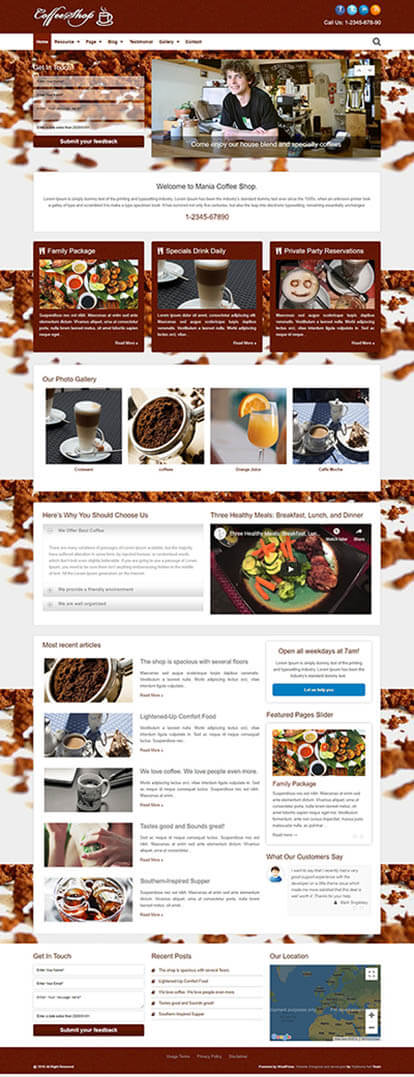Coffee Shop WORDPRESS THEME Full Demo