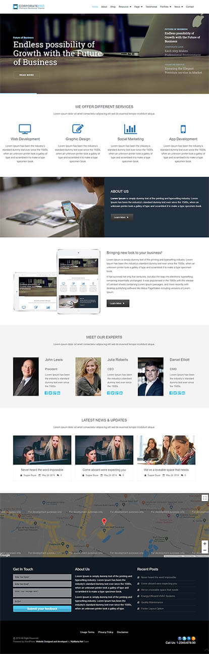 CorporatePro WORDPRESS THEME Full Demo