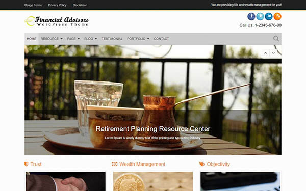 Financial Advisers WordPress Theme