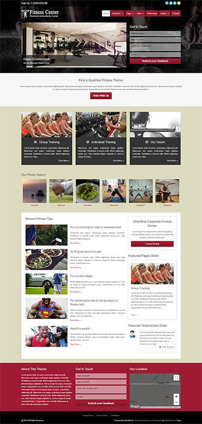 Fitness Center WORDPRESS THEME Full Demo
