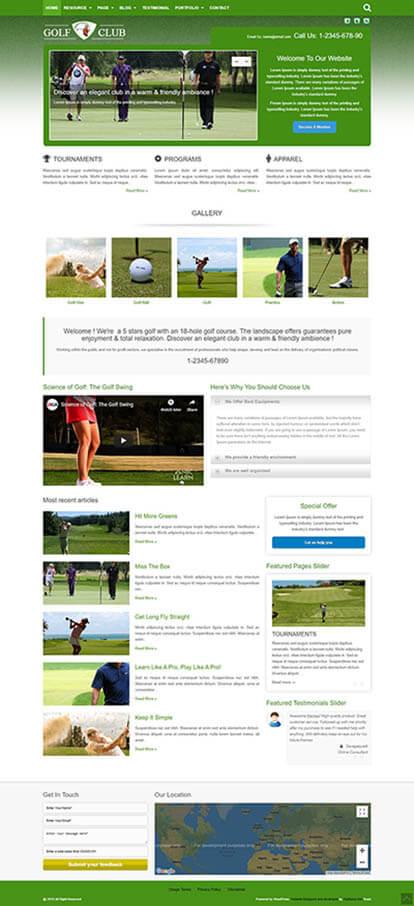 Golf WORDPRESS THEME Full Demo