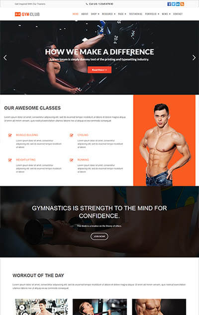 GymClub – Gym and Fitness WordPress Theme