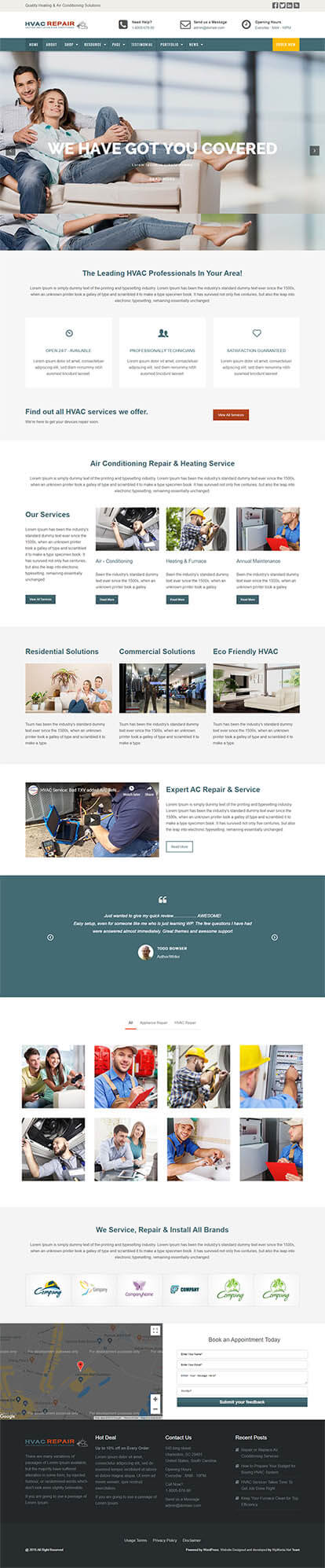 HVAC Repair WORDPRESS THEME Full Demo