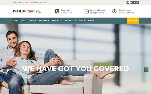HVAC Repair WordPress Theme : Website Template For HVAC Professionals