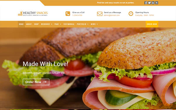 Healthy Snacks – Food & Restaurant WordPress Theme