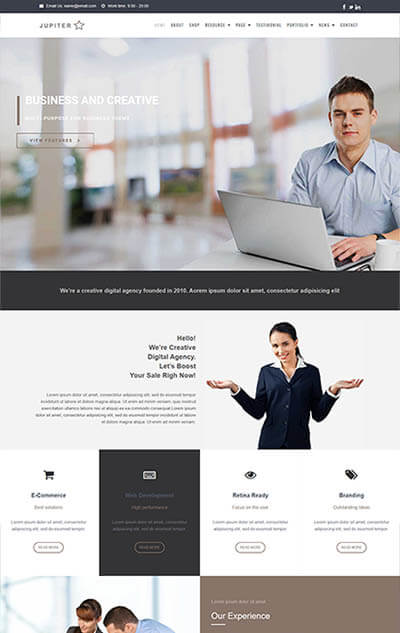 Jupiter Multi-Purpose WordPress Theme | Corporate Website Template