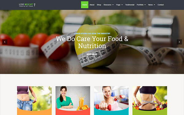 LoseWeight WordPress Theme – Diet & Fitness Website Template