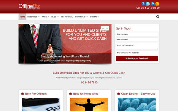 OfflineBiz wordpress lead generation theme