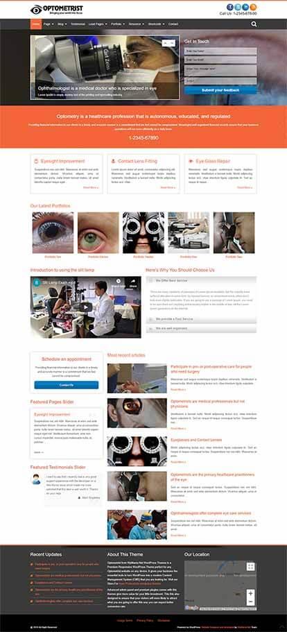 Optometrist WORDPRESS THEME Full Demo