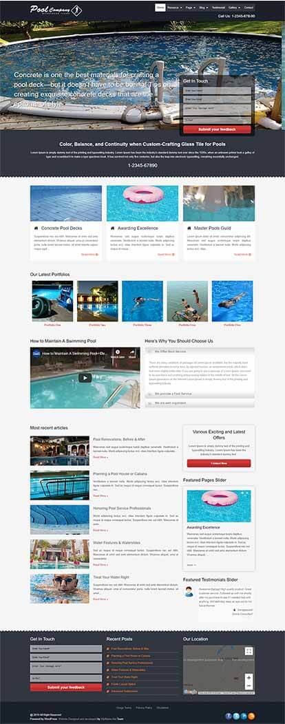 Pool Company WORDPRESS THEME Full Demo