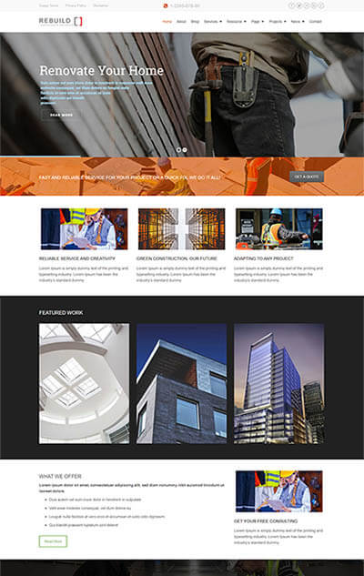 Rebuild – Construction & Renovation WordPress Theme