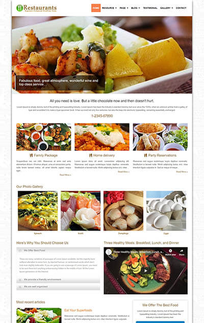 Restaurants WordPress Theme