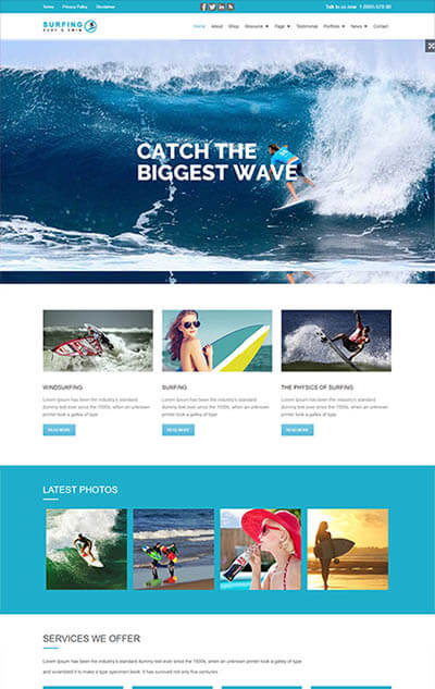 Surfing WordPress Theme – Adventure Tours and Travel Theme