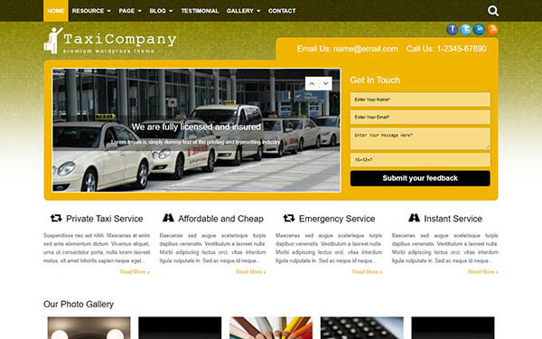 Taxi Company WordPress Theme