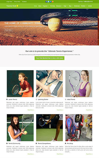 Tennis Club WordPress Theme