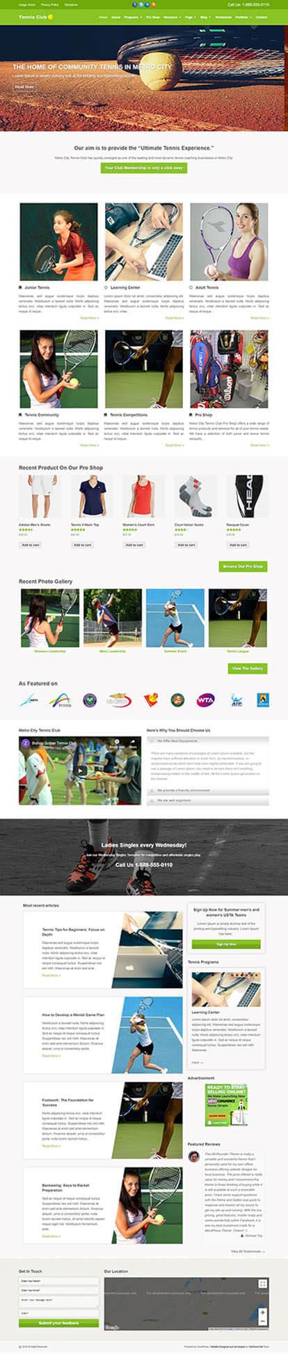 Tennis Club WORDPRESS THEME Full Demo