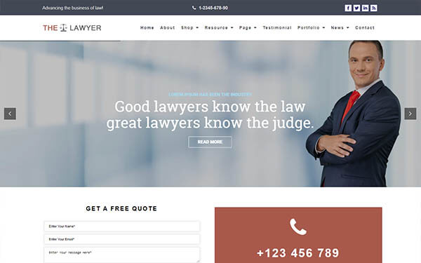The Lawyer WordPress Theme – Website Template For Lawyers and Attorneys