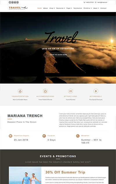 Travel WordPress Theme : Website Template For Outdoor Advanture