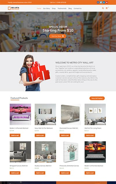 Wall Art – WordPress Theme :  Website Template For Artist