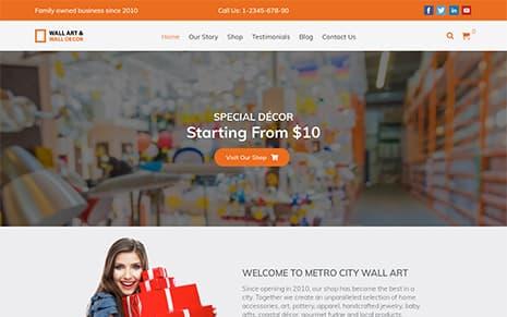 Wall Art – WordPress Theme :  Website Template For Artist