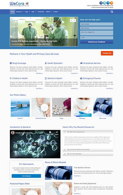 WeCare Medical WordPress Theme