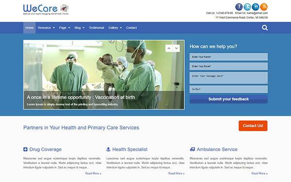 WeCare Medical WordPress Theme